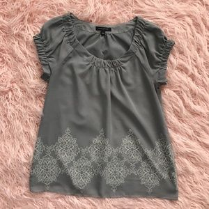 Banana Republic Gray Scoop Neck Puffy Slv Blouse